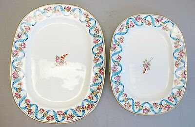 Pair of 18th C. Minton Porcelain Platters  Rare & Old  c. 1800  Hand-Paint