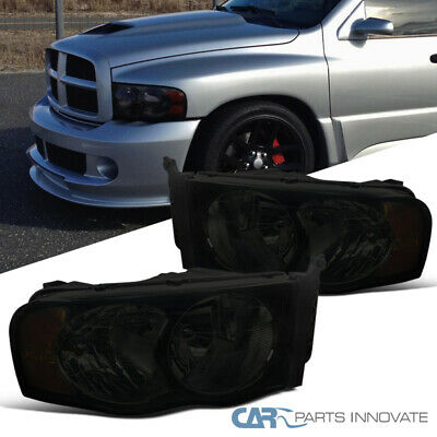 For 02-05 Dodge Ram 1500 2500 3500 Euro Replacement Smoke Lens Headlights Lamps