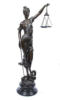 Stunning Large Bronze Lady Justice Statue Judicia