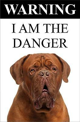 """Warning I Am The Danger """"Dogue de Bordeaux"""" Metal Dog Sign Available In 4 Sizes"""