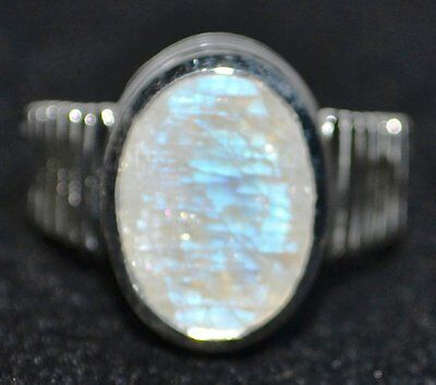 Faceted Moonstone Sterling SILVER Ring Natural Gem 925 Rings Size 5½, L to 10, U
