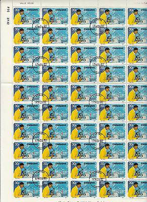 Stamps 1982 Zimbabwe 30c scientist microscope complete sheet of 50, cto no gum