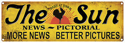 THE SUN NEWS PICTORIAL Rustic Vintage Tin Sign 60 x 20 cm