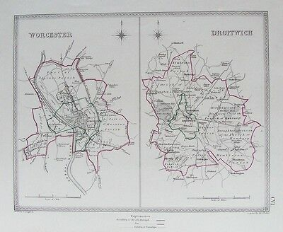 OLD ANTIQUE MAP WORCESTER DROITWICH c1830's BOUNDARY PLANS by CREIGHTON / WALKER