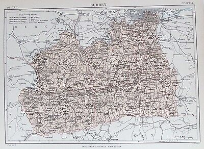 OLD ANTIQUE MAP SURREY c1880's by W & A K JOHNSTON 19th CENTURY PRINTED COLOUR