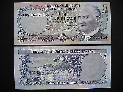 TURKEY  5 Lira 1970 (1976)  (P185)  UNC