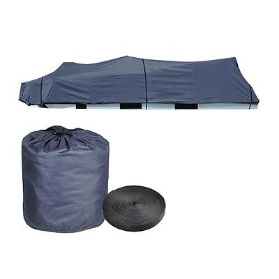 21 - 24' Trailerable Pontoon Boat Cover 600D UV Waterproof w/ Oxford Bag Blue
