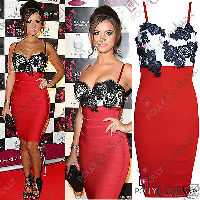 Womens Celeb Style Red Black Lace Party Evening Cocktail Bandage Bodycon Dress