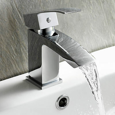Basin Mixer Tap for Cloakroom Square Sink Modern Chrome Bathroom Waterfall Taps