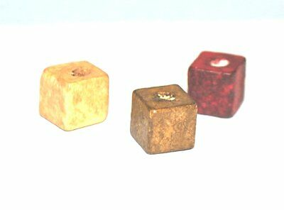 200 SQUARE WOODEN JEWELLERY CRAFT BEADS - 10mm CUBE WOOD - BROWN / RED - UK