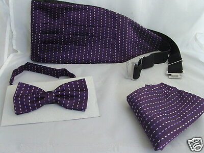 (18) Purple (Interwoven) - Silk Mens Bow Tie + Cummerbund and Hankie Set