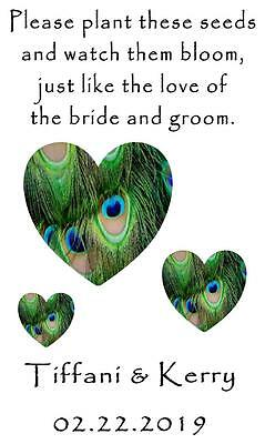 Wedding Favor Seed Packets Personalized Peacock Hearts Custom Favors 100 Qty.