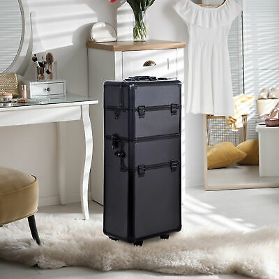 """HomCom 34"""" 3 in1 Cosmetic Makeup Box Trainer Organizer Removable Portable Tool"""