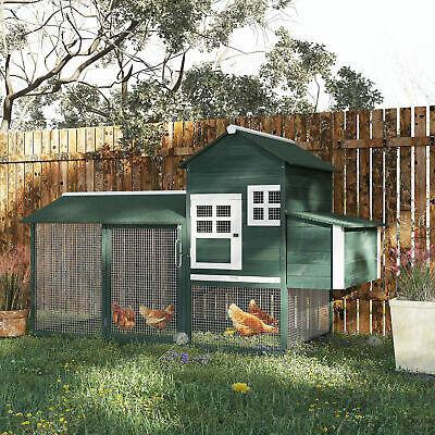 "84"" Wooden Chicken Coop Backyard Nest Box Hen House Wood Poultry Hutch Nesting"