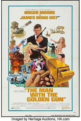 1974 Roger Moore. The Man With The Golden Gun original large unrestored Poster.