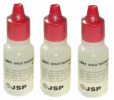 Three 3 New Fresh Jsp 18K Gold Acid Testing Solution Squeeze Bottle Test Tester