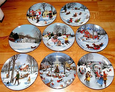 Christmas Plate Set.An Old Time Country Winter Charlotte Sternberg Christmas Plate Set