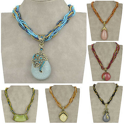 Charm CZ Chunky Crystal Glass Beads Retro Copper Chain Necklace Pendant TZ256