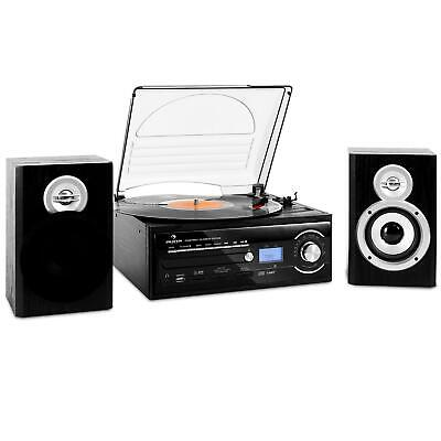 Cadena Estéreo Equipo Reproductor Vinilo Giradiscos Altavoz CD MP3 SD USB CD
