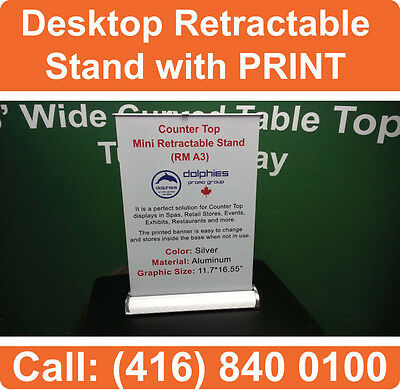 DESKTOP A4 Counter Top Retractable Banner Stand Display Trade Show with GRAPHICS