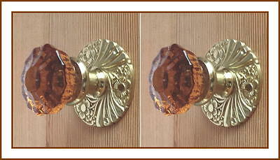 World Class Old Town Amber Crystal Custom Knob Sets-Solid Brass