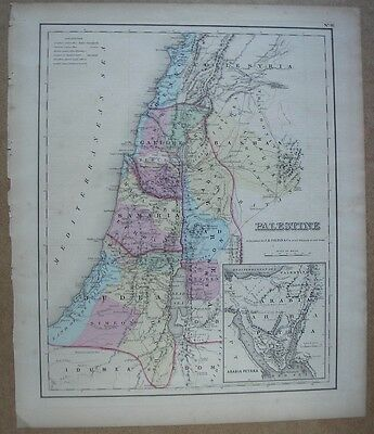 MAP: Palestine - Israel - Holy Land -  ORIGINAL c1857 Colton Hand Colored
