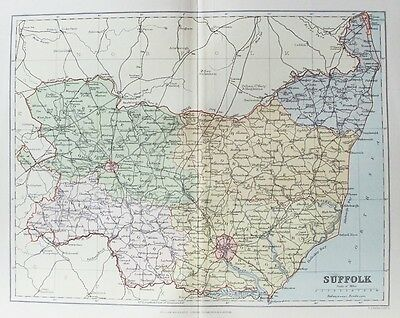 OLD ANTIQUE MAP SUFFOLK c1880's by WELLER / MACKENZIE 19th C PRINTED COLOUR