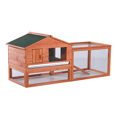 Pawhut Wooden Large Chicken Rabbit Hutch Cage House Poultry Coop Habitats W/ Run