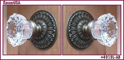 Custom Crystal Knob Sets-World Class Deco Style-Solid Brass w/double set screws