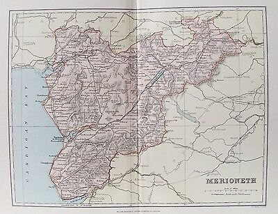 Wales 1893 Old Plan Chart Merionethshire Antique County Map