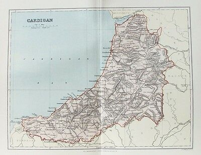 OLD ANTIQUE MAP CARDIGANSHIRE WALES c1880's by WELLER 19th C PRINTED COLOUR