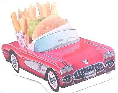6 Assorted Cardboard Classic Car Food Box Tray Table Center Party Planner Favor