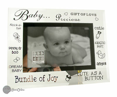 "Baby Gift Glass Picture Photo Frame 6""x4"" 3-267-46"