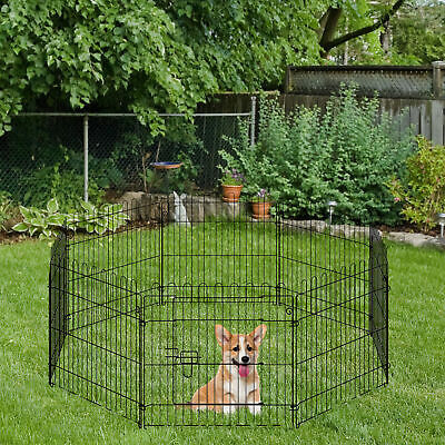 """PawHut 24"""" 8-Panel Pet Playpen Crate Dog Cage Pen Exercise Small Animals"""