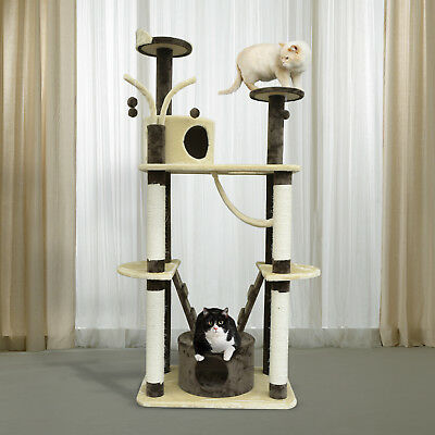"PawHut 71"" Multilevel Condo Cat Tree Scratching House Tunnel Condo Toy"