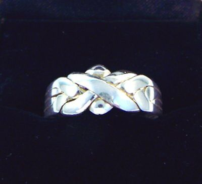 Silver 4 Band Turkish Interlocking Puzzle Ring - Traditional Style - Plated