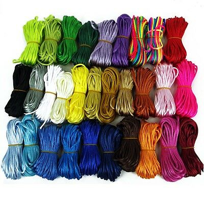 10M of Silky Satin Rattail KUMIHIMO Braiding Cord 2mm Thickness Macrame Thread