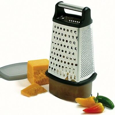 Norpro 325 Cheese Grater 4 Sided with Catcher and Lid 18/10 Stainless Steel