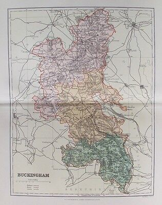 OLD ANTIQUE MAP BUCKINGHAMSHIRE c1880's by WELLER 19th CENTURY PRINTED COLOUR