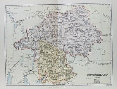 OLD ANTIQUE MAP WESTMORLAND c1880's by WELLER 19th CENTURY PRINTED COLOUR