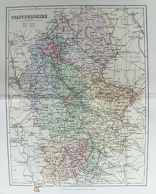 OLD ANTIQUE MAP STAFFORDSHIRE c1880's by WELLER 19th CENTURY PRINTED COLOUR