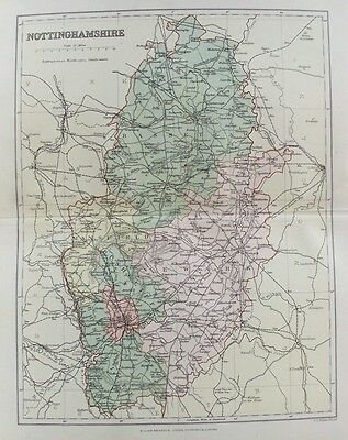 OLD ANTIQUE MAP NOTTINGHAMSHIRE c1880's by WELLER 19th CENTURY PRINTED COLOUR