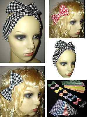 80s fancy dress head scarf, hair bow, gingham check, hen party REDUCED TO CLEAR