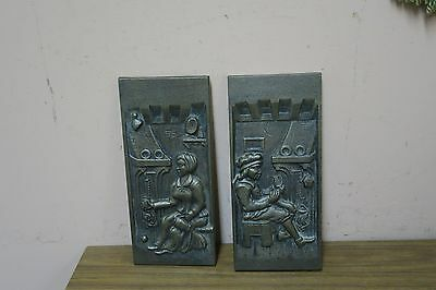 "Set @ 2 Vintage Bronzed Cast Iron Figurative Stove - Fireplace Plate 10"" x 4.5"""