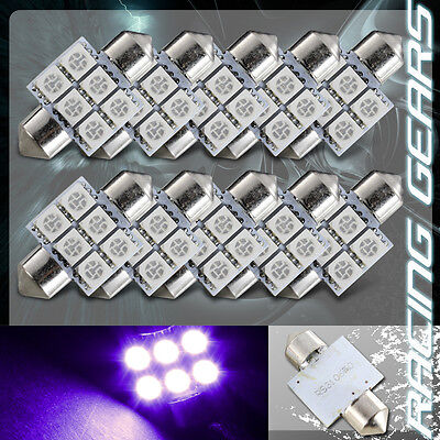 10x Universal 31mm Purple 6 SMD LED Festoon Replacement Dome Glove Light Bulb