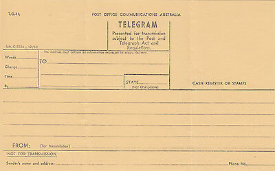 "Telegram from Commonwealth of Australia unused T G 41 from Sch ""C""-8526-12/60"