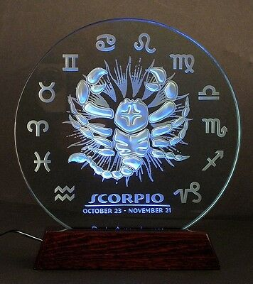 Zodiac: SCORPIO in thick glass. Hand-sculpted/sandblasted. w/ LED light base