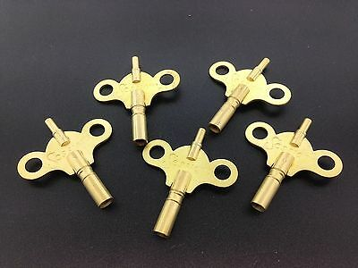 Set of 5 Sessions Solid Brass Double End Trademark Wing Clock Key 6/4