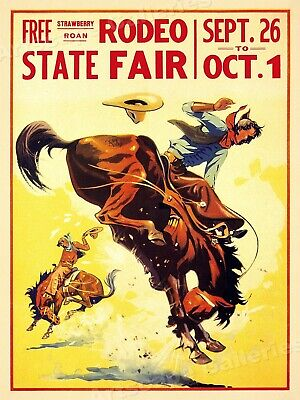 1930s State Fair Rodeo Poster Cowboy Vintage Style Western Poster - 18x24