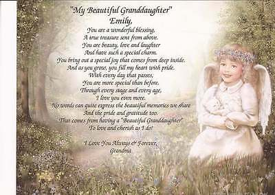 """""""My Beautiful Granddaughter"""" Personalized Poem Gift for Birthday Any Occasion"""